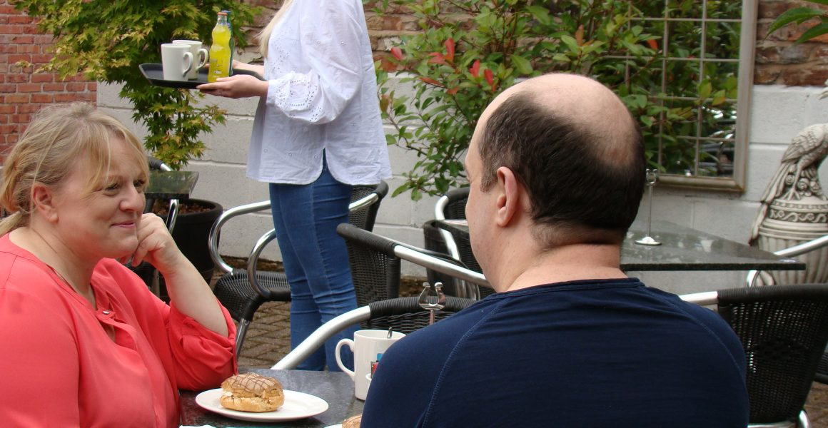 Customers in the outdoor area at the Daisy Nook Riverside Cafe